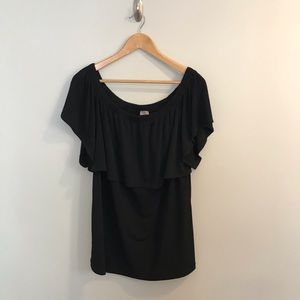 Chico's Black Ruffle Off The Shoulder Top T-Shirt